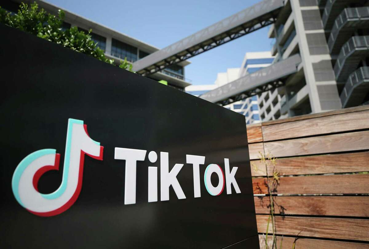 """The TikTok logo is displayed outside a company office Culver City, California. The Chinese-owned company has banned the ability of users to post content related to the """"devious licks"""" vandalism trend. (Photo by Mario Tama/Getty Images)"""