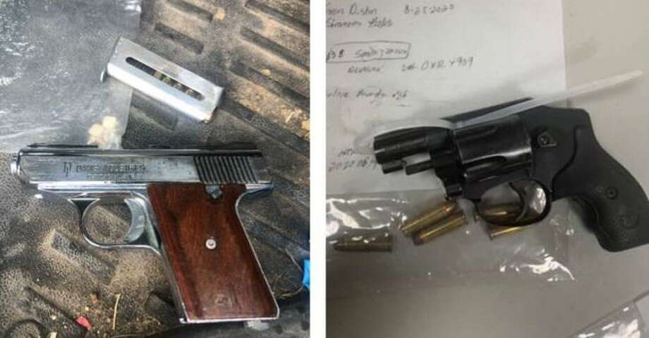 These are the two firearms the Webb County Sheriff's Office seized from a convicted felon following a traffic stop on Interstate 35. Photo: Courtesy Photo /Webb County Sheriff's Office