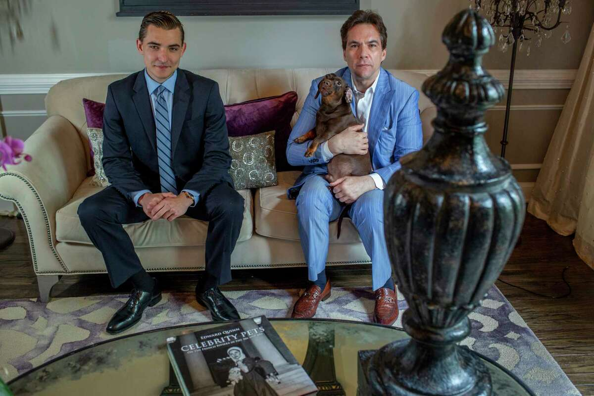 Jack Burkman, right, and Jacob Wohl, in Burkman's home/office in Arlington.