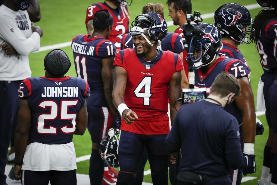 Houston Texans quarterback Deshaun Watson (4) laughs with running back Duke Johnson (25) on the sidelines during an NFL training camp football practice Thursday, Aug. 27, 2020, in Houston. Photo: Brett Coomer/Staff Photographer / © 2020 Houston Chronicle