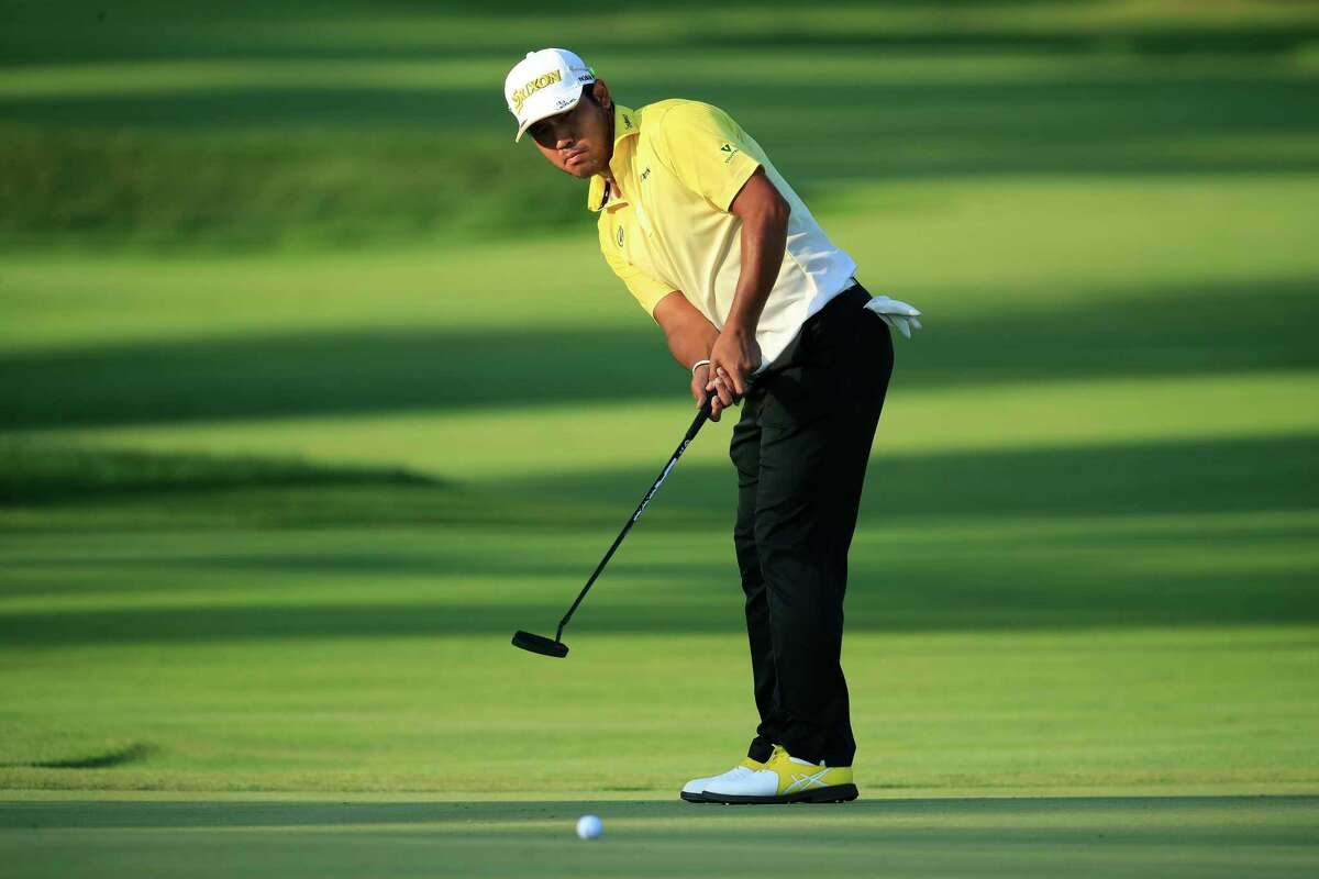 OLYMPIA FIELDS, ILLINOIS - AUGUST 27: Hideki Matsuyama of Japan putts for birdie on the ninth green during the first round of the BMW Championship on the North Course at Olympia Fields Country Club on August 27, 2020 in Olympia Fields, Illinois. (Photo by Andy Lyons/Getty Images)