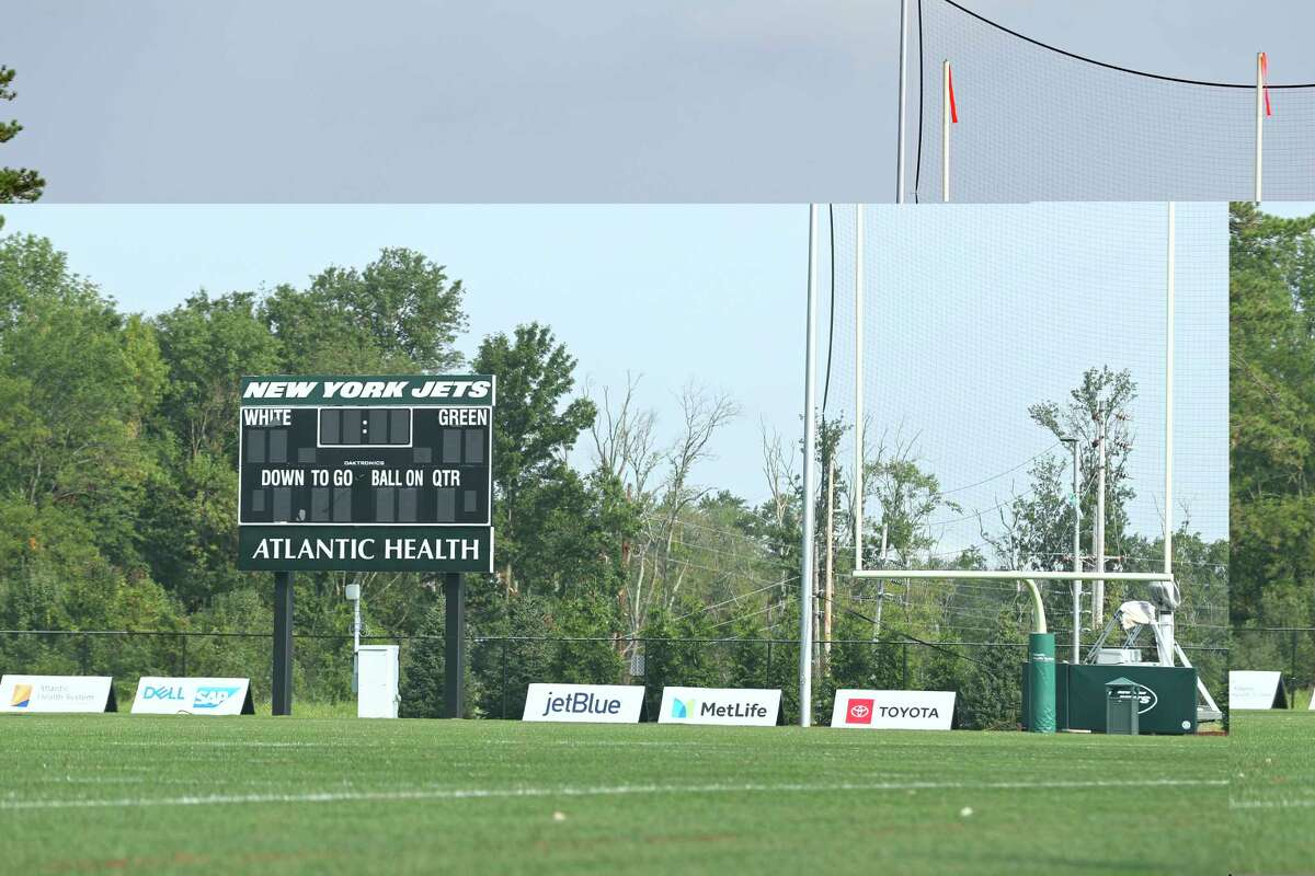 An empty field is seen at the New York Jets NFL football team's training camp in Florham Park, N.J., Thursday, Aug. 27, 2020. The New York Jets canceled their practice in an apparent response to the shooting of Jacob Blake, a Black man, in Wisconsin. The Jets provided no immediate details on their decision to not practice. (AP Photo/Adam Hunger)