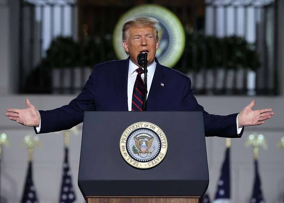 President Donald Trump delivers his acceptance speech for the Republican presidential nomination on the South Lawn of the White House on Thursday, Aug. 27, 2020, in Washington, D.C. Photo: Chip Somodevilla, TNS