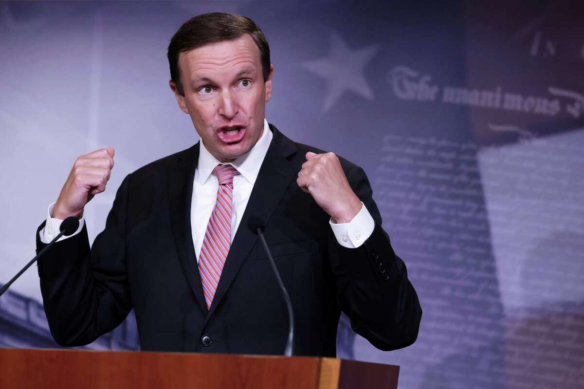 WASHINGTON, DC - AUGUST 04: U.S. Sen. Chris Murphy (D-CT) gestures during a news conference at the U.S. Capitol August 4, 2020 in Washington, DC. Senate Democrats held a weekly news conference to answer questions from members of the press. (Photo by Alex Wong/Getty Images)
