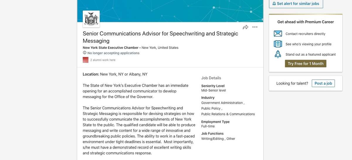 A job posting on LinkedIn sought an accomplished speech writer for the New York State Executive Chamber