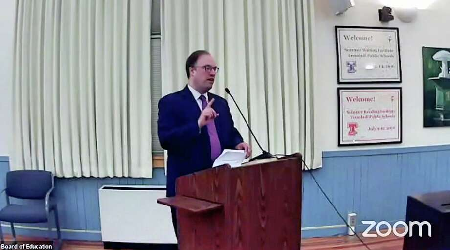 Assistant Supt. Jonathan Budd speaks to the Trumbull Board of Education during Tuesday's presentation of school enrollment projections. Photo: Zoom Screen Capture