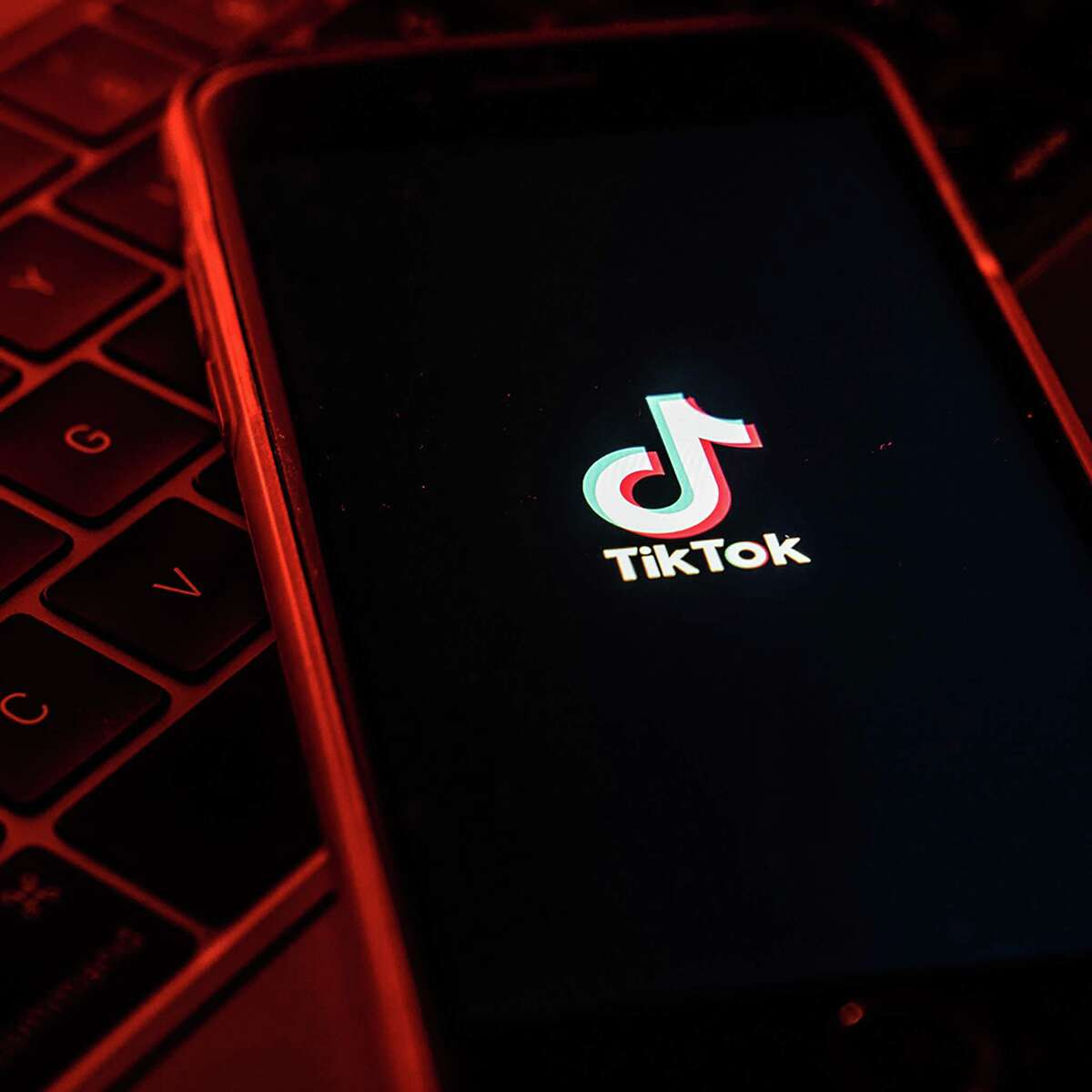The logo for the TikTok app on a smartphone on July 7, 2020.