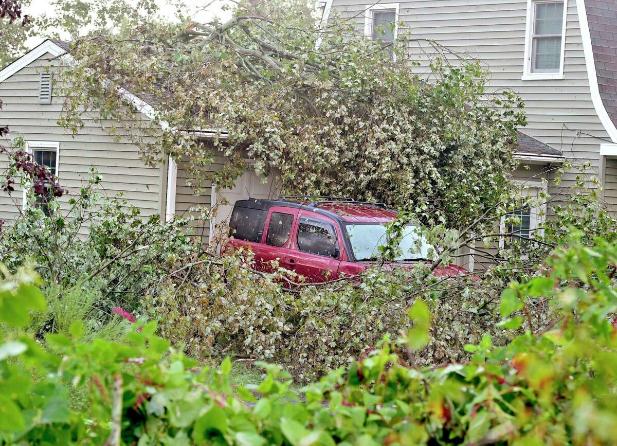 In Branford, Connecticut on Aug. 28, 2020: The town was hard hit by a fierce storm Thursday evening with severe thunderstorms and high winds throughout the evening ripping down trees and wires. A majority of power outages were in the towns hit hardest: Branford, Hamden and North Haven.