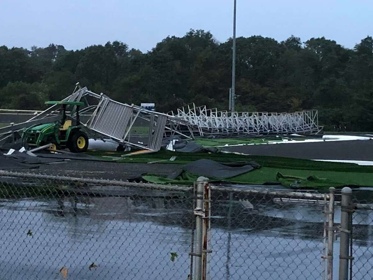 Thr brand new, just about finished synthetic turf field at East Haven High School was hit by a possible tornado on Aug. 27.
