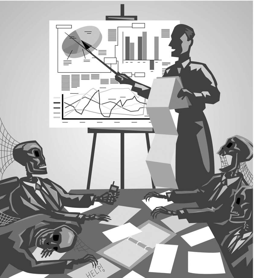 Skeleton people in a boring business meeting. Photo: Dynamic Graphics / Getty Images / (c) Dynamic Graphics