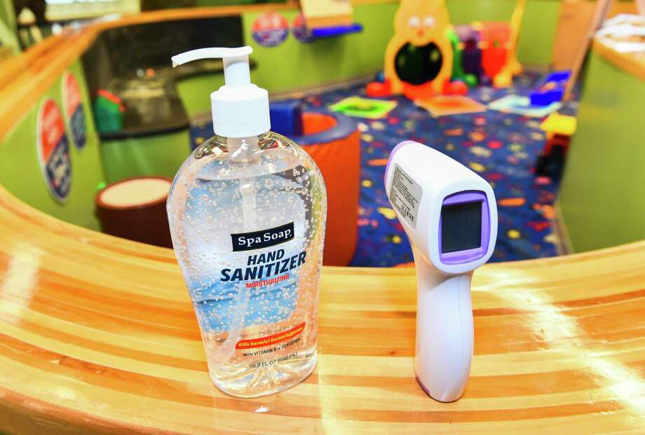 The Imaginarium of South Texas showcases its disinfecting stations for the small group reservations, Thursday, Aug. 27, 2020, at Mall Del Norte. Photo: Danny Zaragoza, Staff Photographer / Laredo Morning Times