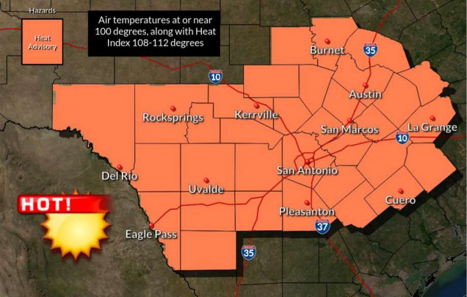 High temperatures are back for San Antonio as the National Weather Service issues a heat advisory for the area for Friday. Photo: National Weather Service