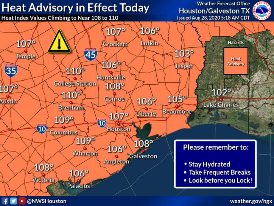 Heat is the main factor in Houston's weather forecast for Friday, Aug. 28, 2020. Photo: National Weather Service