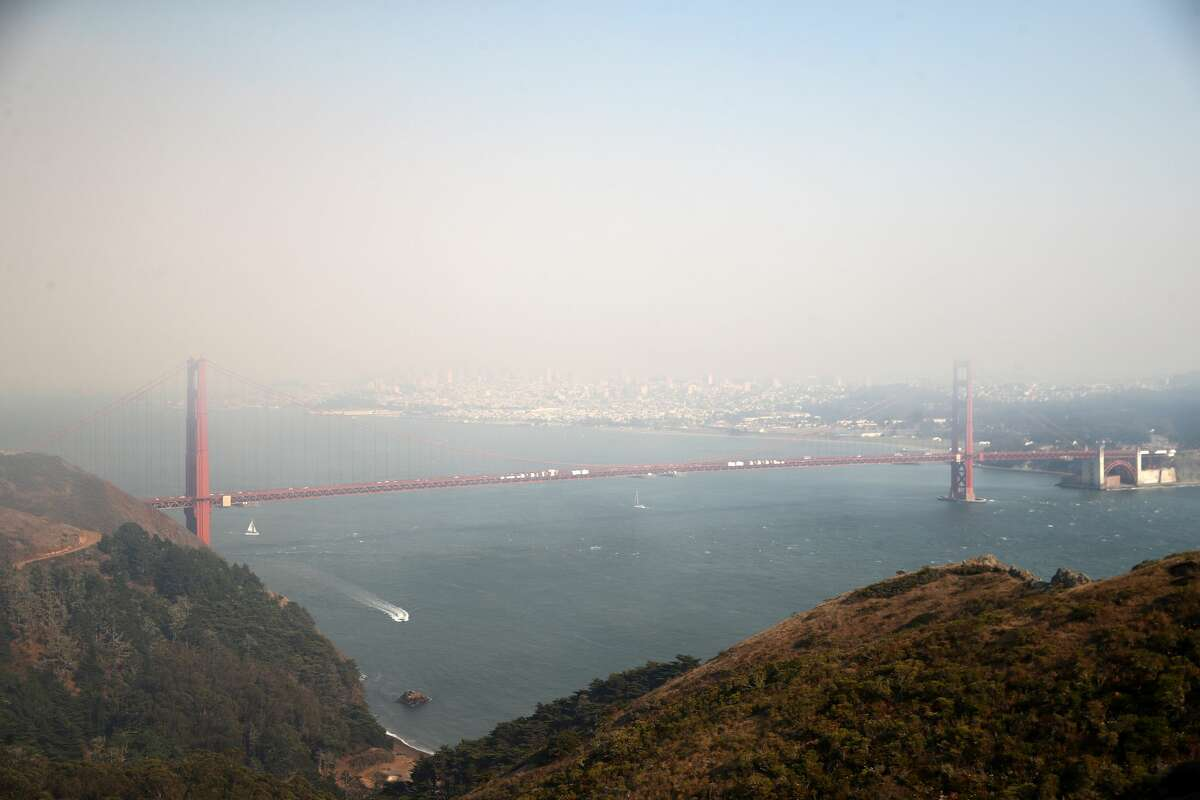 Heavy smoke from nearby wild fires covers the Golden Gate Bridge and San Francisco on August 20, 2020 as seen from the Marin Headlands in Sausalito, California.