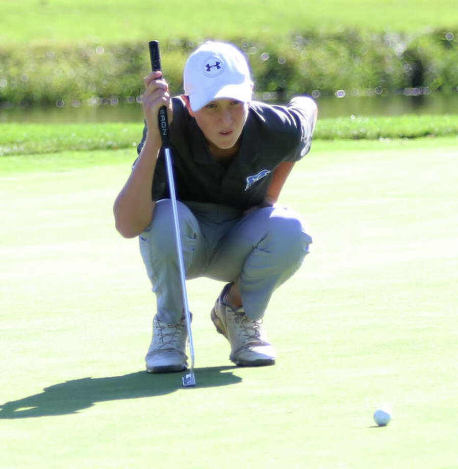 Marquette sophomore Aidan O'Keefe fired a one-under par 35 and led the Explorers past Father McGivney High 159-183 Thursday at Spencer T. Olin Golf Course. Photo: Telegraph File Photo