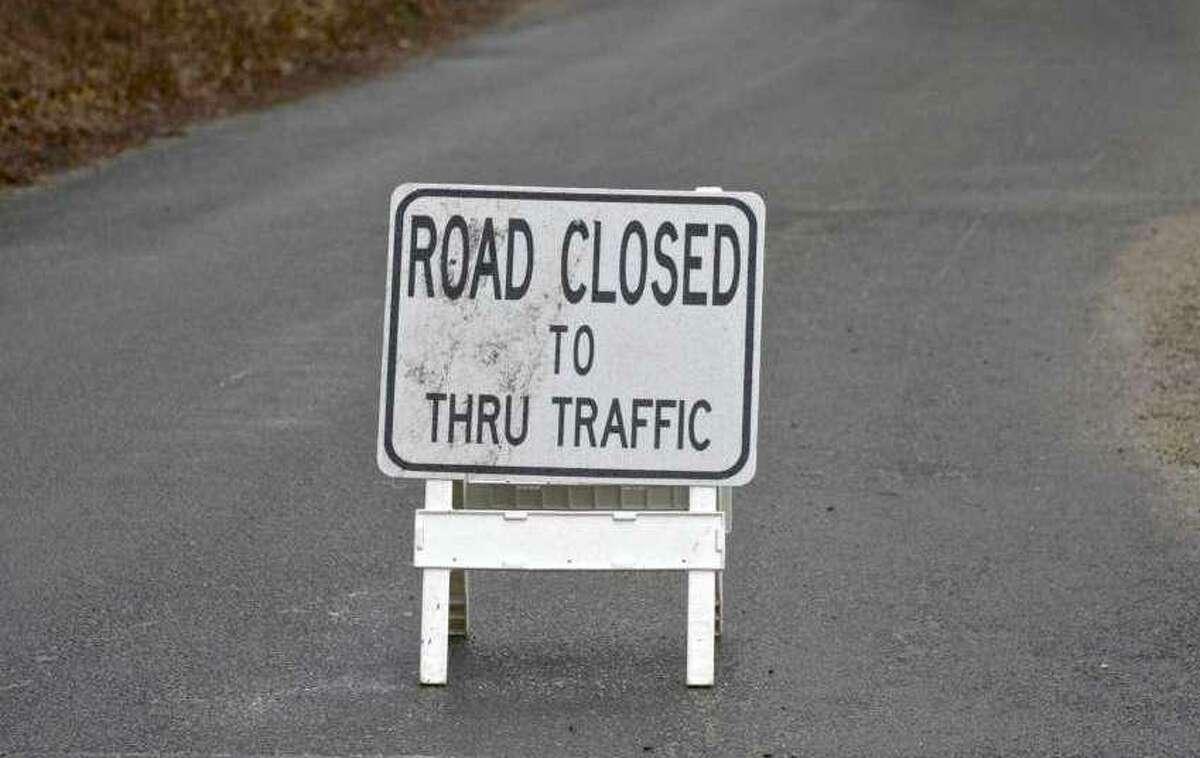 A road closed sign.