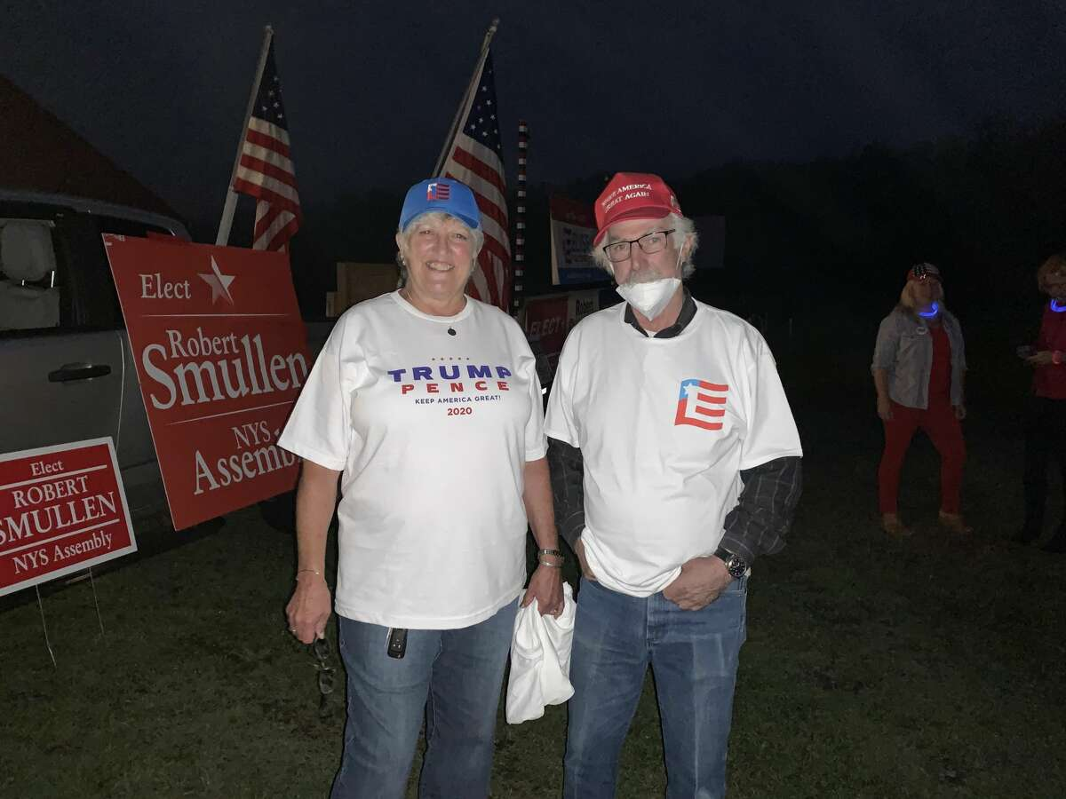 Kathy and Noel Levee watched the final night of the Republican National Convention at the Ozoner 29 drive-in movie theater in Broadalbin, New York on Thursday August 27, 2020.