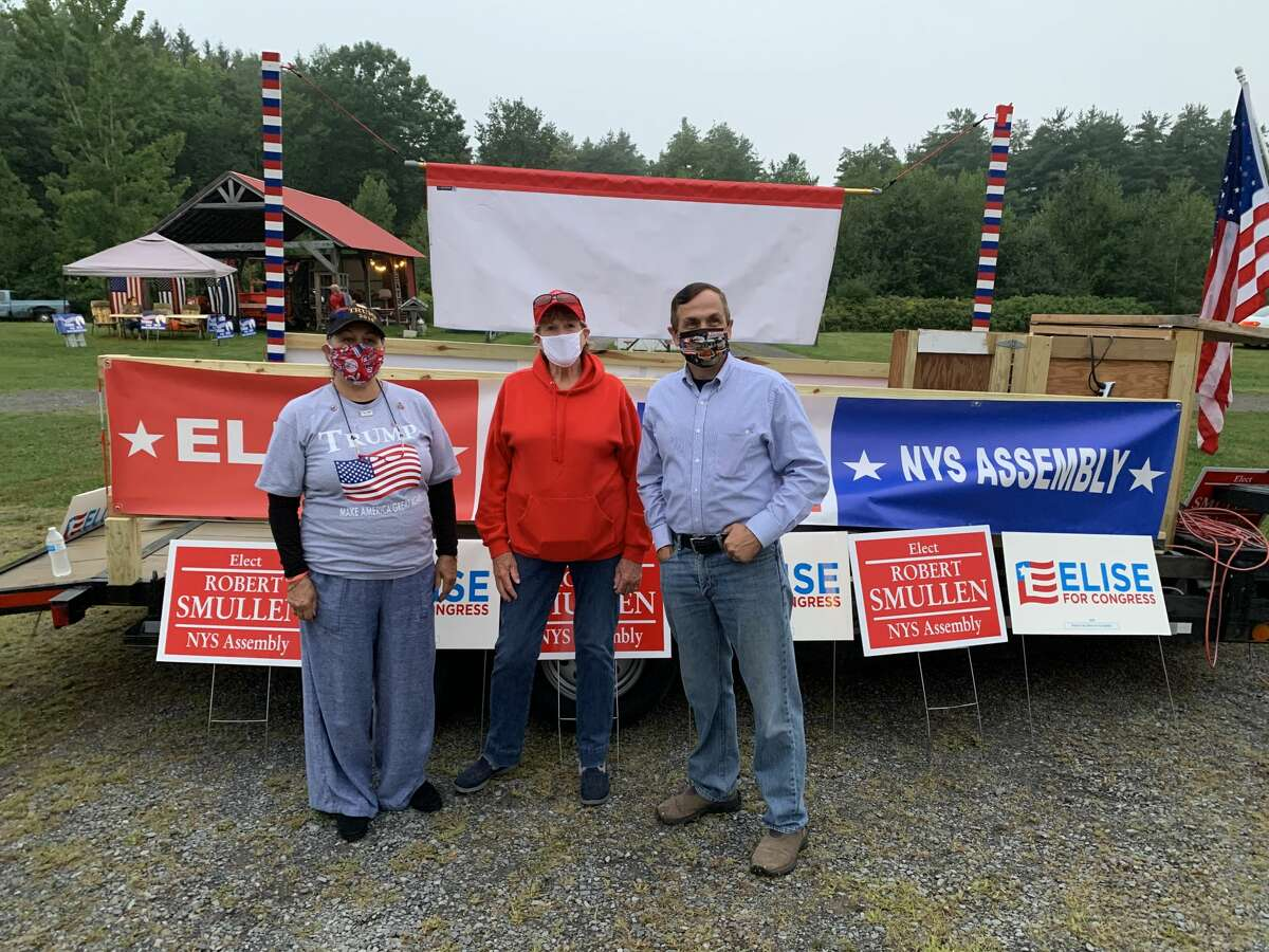 (Left to Right) New York delegate and Fulton County Republican Chair Susan McNeil, Fulton County Supervisor Sheila Perry and Assemblyman Bob Smullen posed at the Ozoner 29 drive-in movie theater in Broadalbin, New York, where Republicans gathered to watch the final night of the Republican National Convention on Thursday August 27, 2020.