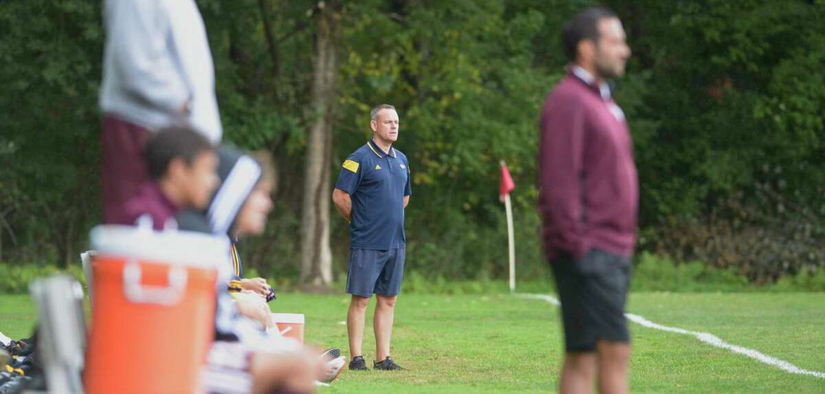 Weston head coach Kevin Fitzsimmons watches his team during the boys soccer game between Weston and Bethel high schools on September 24, 2019, at Rourke Field, Bethel.