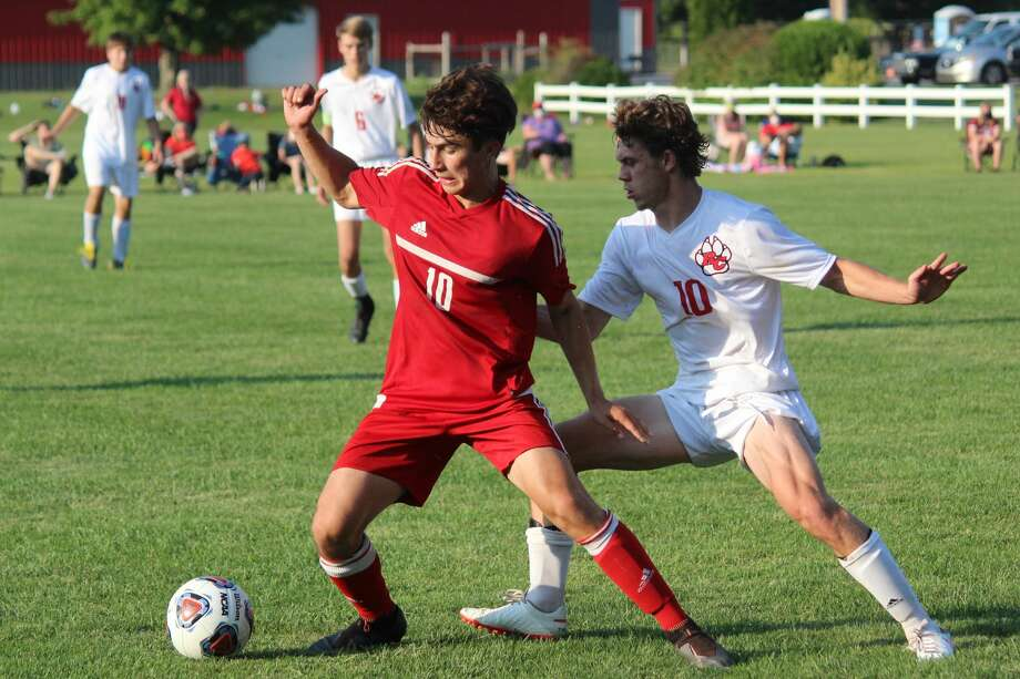 The Benzie Central boys soccer team defeats Reed City 5-4 on Aug. 27. Photo: Robert Myers