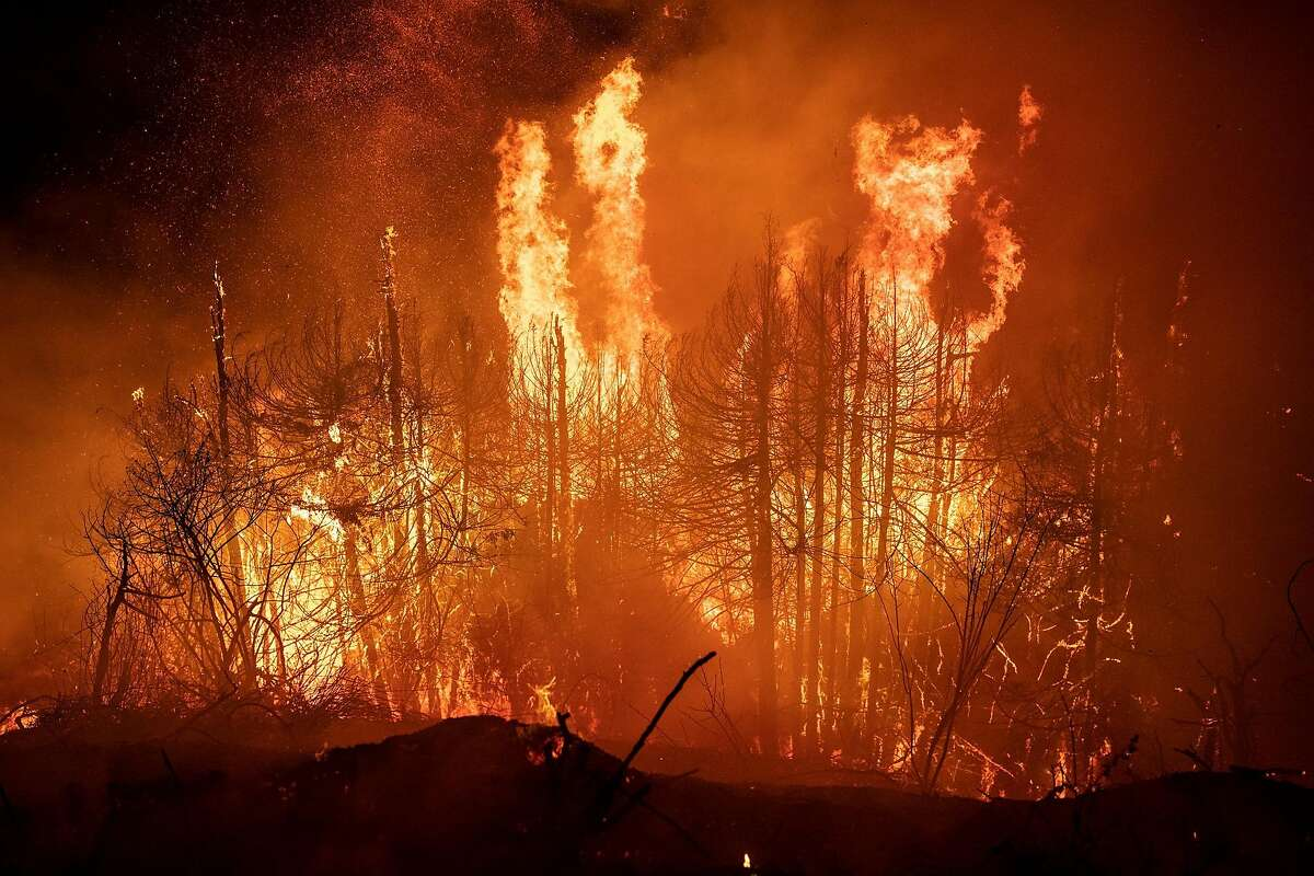 Cal Fire fighters and U.S. Forest service firefighters battle a wildfire on the south coast of Big Sur, near Lucia, Calif. on the evening of Saturday, August 22, 2020 and into the morning of Sunday, August 23, 2020.