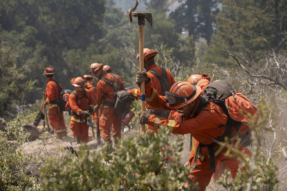 The Camp Growlersberg inmate hand crew clears a preventative fire break in Boony Doon, Calif. on Aug. 27, 2020. This kind of preventative work is crucial in managing future wildfires.