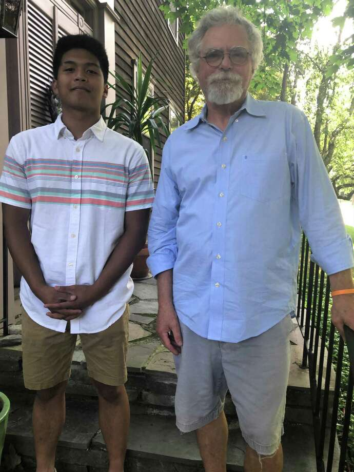 Malcom Chavez, a Foran High School senior, was recently awarded the 2020 Britton John Broatch Memorial Scholarship to support his studies at the University of New Haven. Mr. Chavez (left) has been accepted into the combined B.S./M.S. Mechanical Engineering degree program in UNH's Tagliatela College of Engineering. The scholarship is awarded each year in memory of Milford resident and Foran graduate Britton Broatch, who died suddenly in 2003 at the age of 25. The award was presented to Mr. Chavez by James Broatch, Britton's father. Photo: Contributed Photo