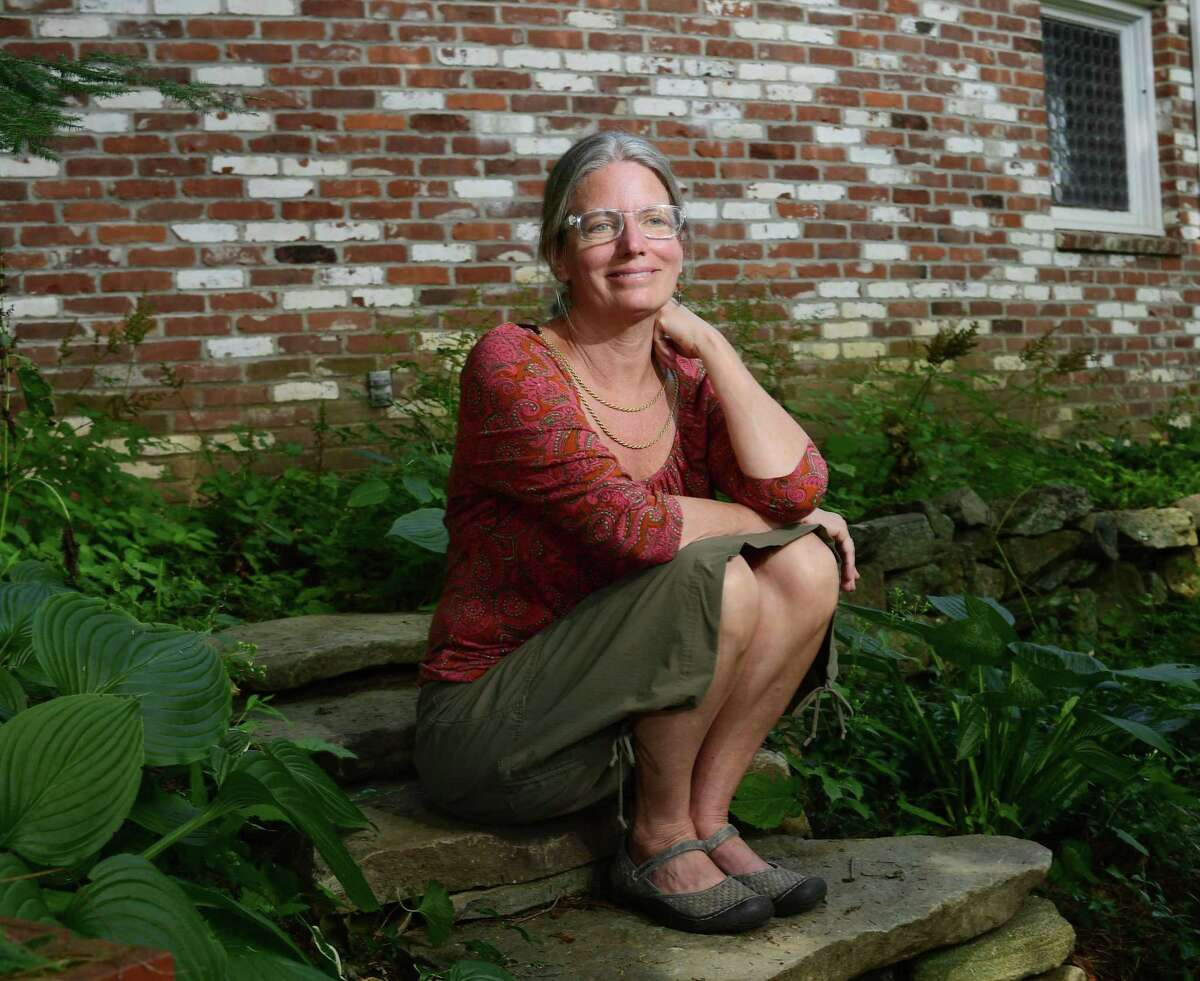 Colleen Fawcett at her home office Aug. 21. She recently retired as coordinator of Wilton Youth Services.