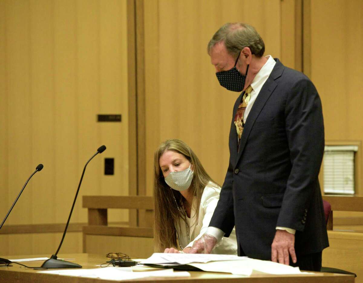 Michelle Troconis appeared in Stamford Superior Court, on Friday morning, in connection to charges in the disappearance of Jennifer Dulos. Attorney Jon Schoenhorn is representing her. August 28, 2020, in Stamford, Conn.