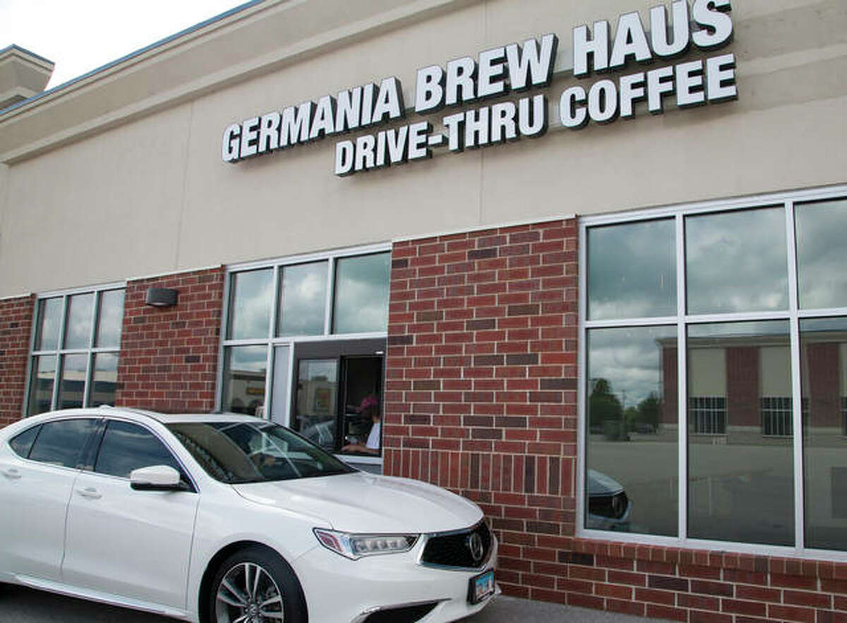 Germania Brew Haus, a local favorite for coffee and craft beer, opened its new coffee location in Godfrey on Friday. The new location features drive-thru service and, eventually, indoor seating once completed.