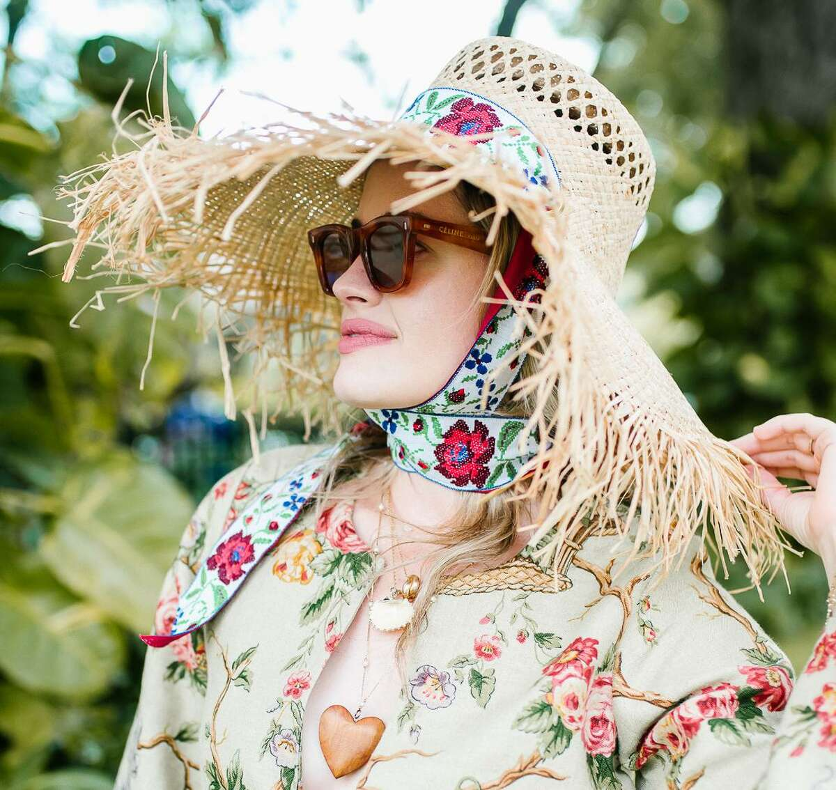 Texas native Sarah Bray models sunhats, caftans and other accessories from her eponymous fashion line, Sarah Bray Bermuda.