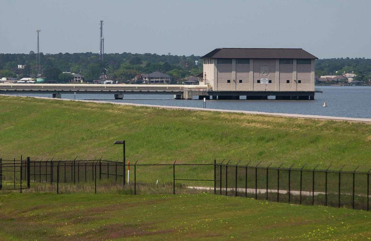 The raw water intake and pump station building juts into Lake Conroe from the dam that creates the lake at the San Jacinto River Authority's surface water treatment plant, Tuesday, April 2, 2019. On Wednesday, township leaders received a lengthy, detailed update on water issues as well as subsidence concerns from officials with the San Jacinto River Authority. Jace Houston, the general manager of the SJRA, provided the seven directors with copious amounts of information and data during the Zoom-hosted online board meeting on Aug. 26.