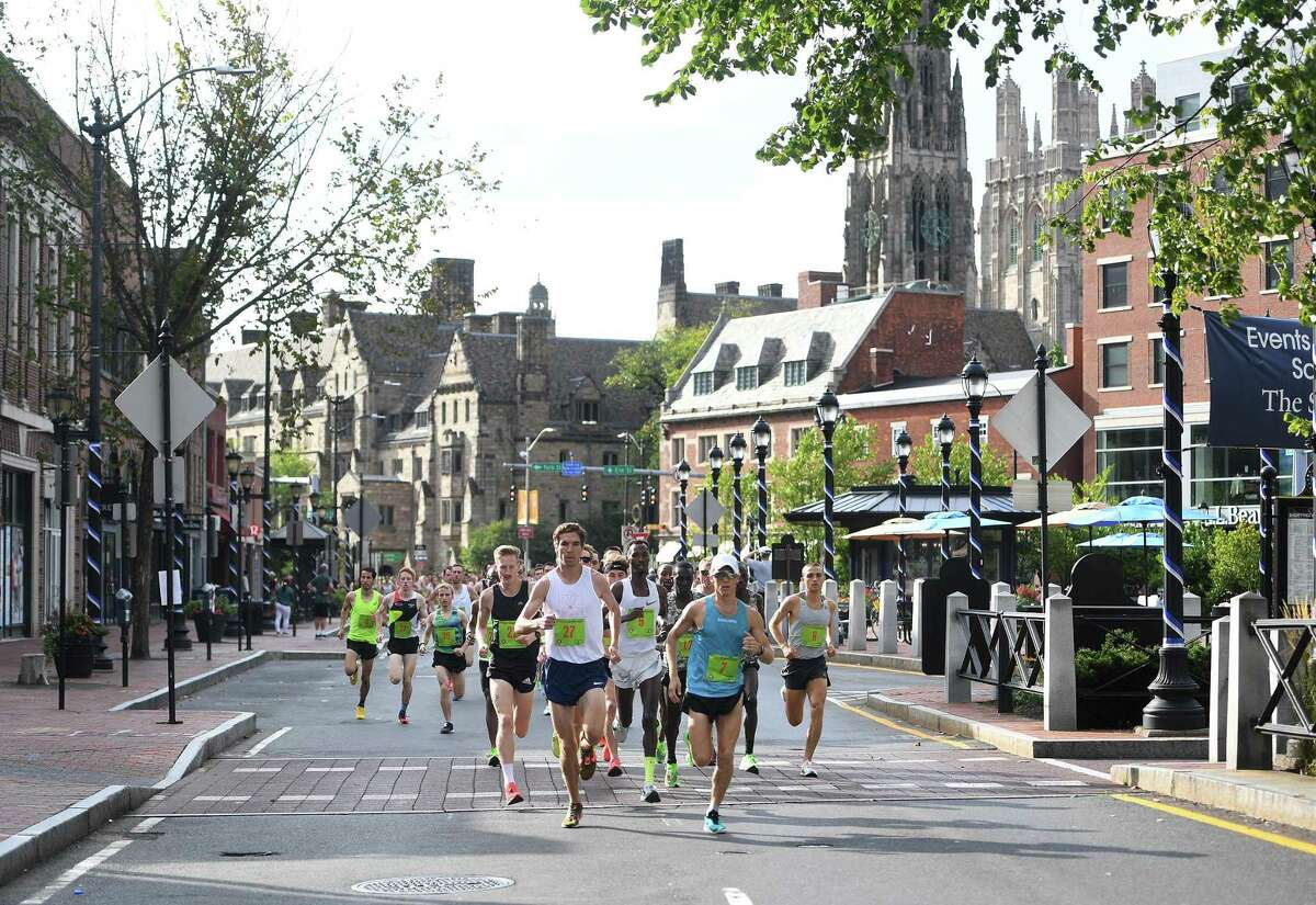 Yale University provides a scenic backdrop for the annual Faxon Law New Haven Road Race in New Haven.