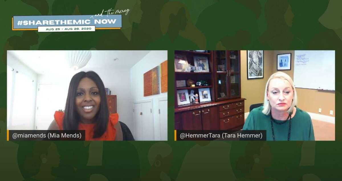 Share the Mic and the Money Now, a virtual event featuring 40 Black woman-owned businesses in Houston, connected entrepreneurs to large corporations looking to diversify their supply chain and benefits. Mia Mends of Sodexo North America and Tara Hemmer of Waste Management discussed equality and investment in communities of color during a virtual talk Thursday, Aug. 27, 2020.
