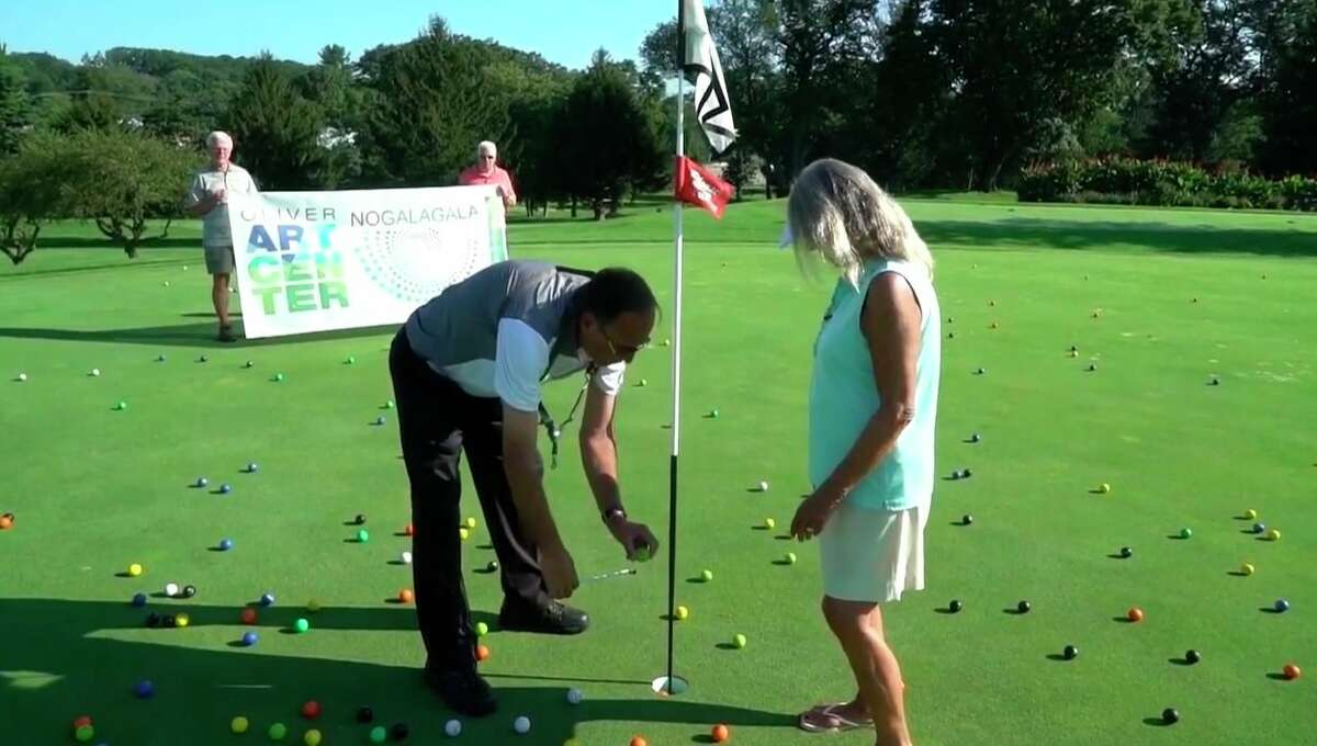 The Elizabeth Lane Oliver Center or the Arts held virtual fundraiser, which included dropping golf balls from a drone and awarding prizes to those who's purchased ball got the closest to the hole. (Courtesy Photo)
