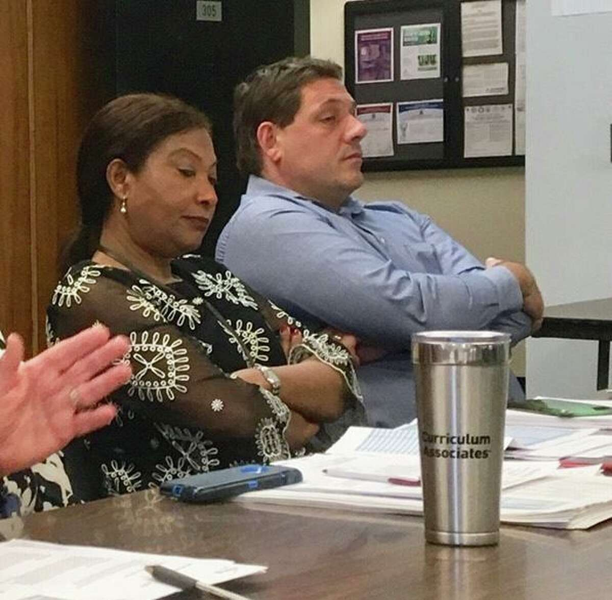 Christiana Otuwa and Michael Testani sit in a committee meeting at City Hall on May 22, 2019.