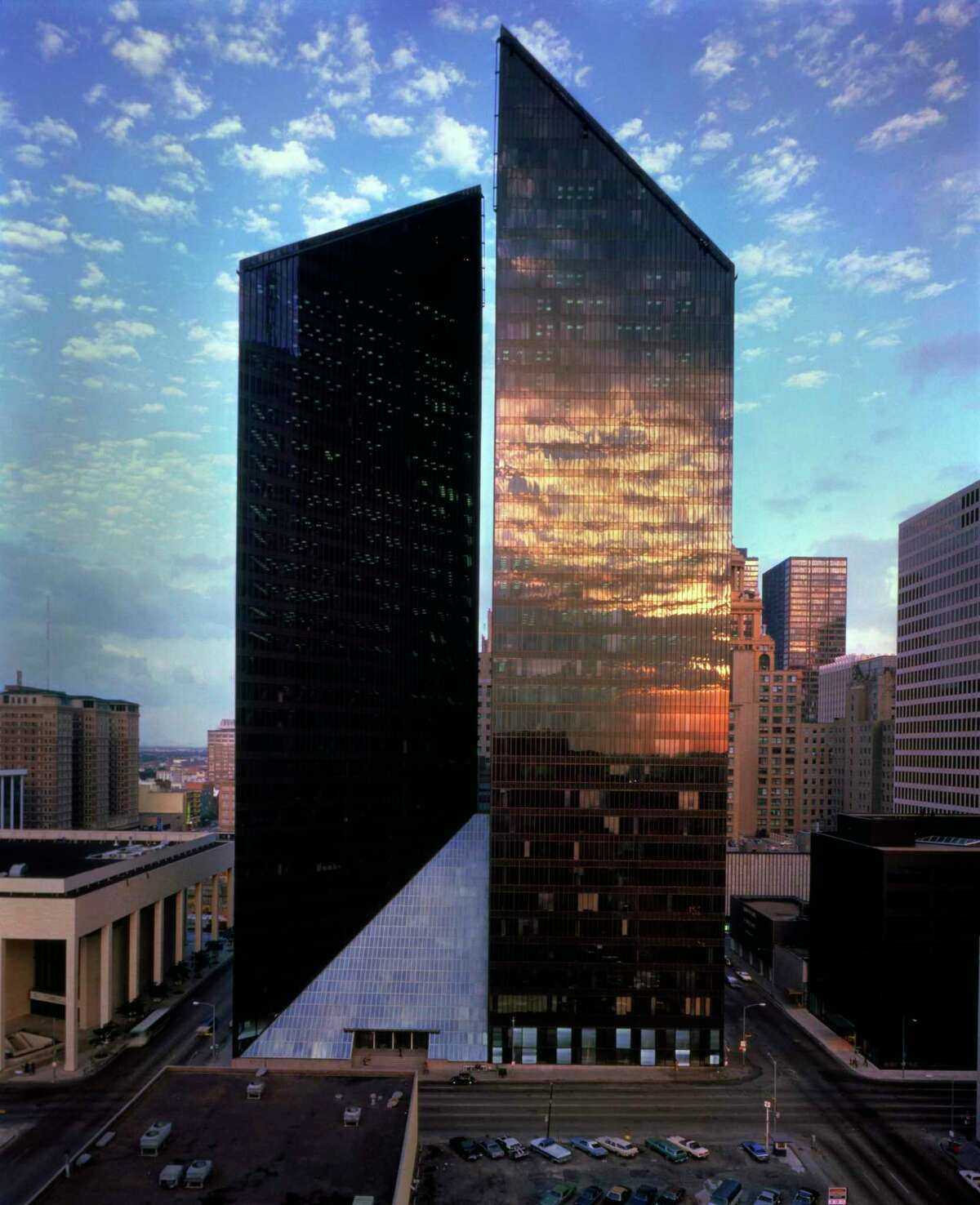 """Houston's Pennzoil Place, developed by Hines and designed by architects John Burgee and the late Philip Johnson, was declared the """"Building of the Decade"""" by New York Times architecture critic Ada Louise Huxtable in 1975."""