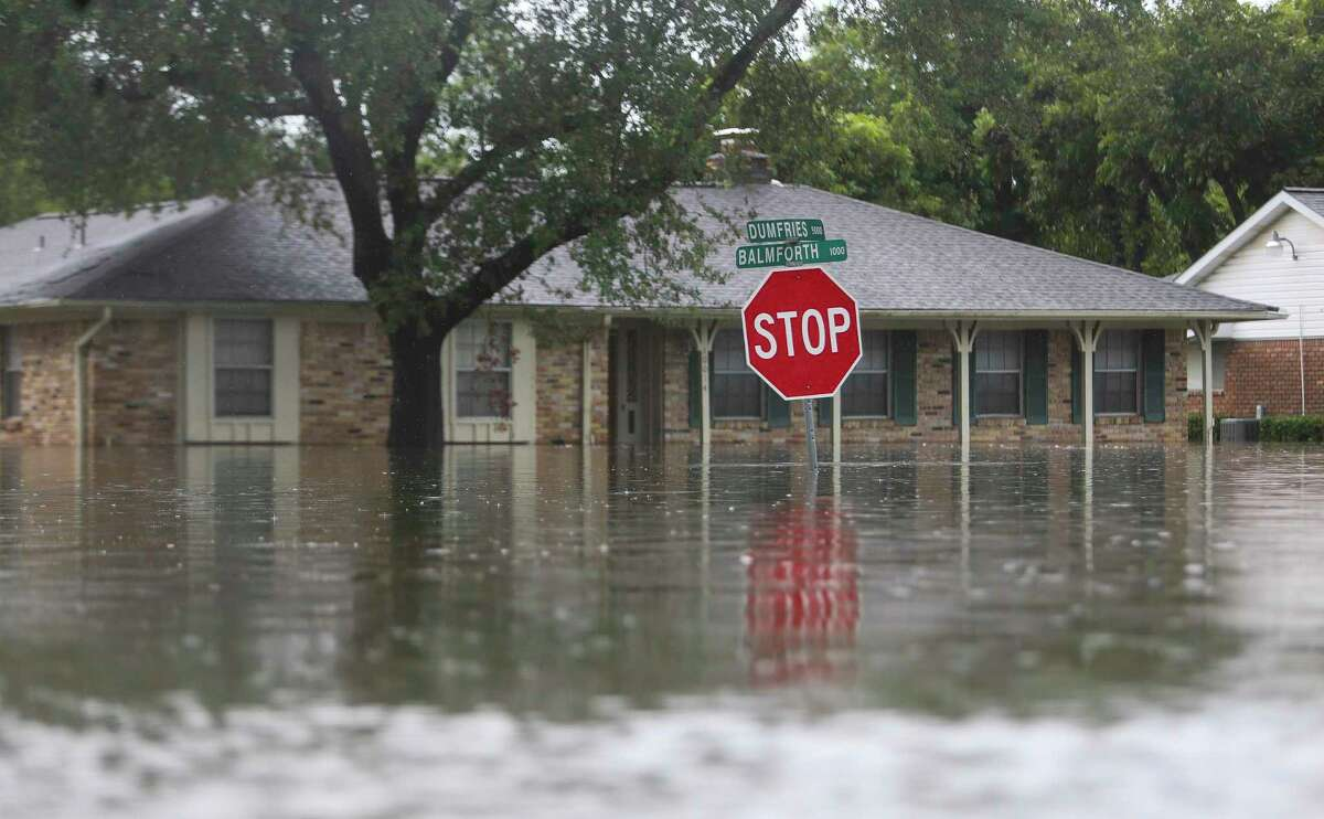 The streets of Meyerland are full of water, Sunday, Aug. 27, 2017, in Houston. (Mark Mulligan / Houston Chronicle)