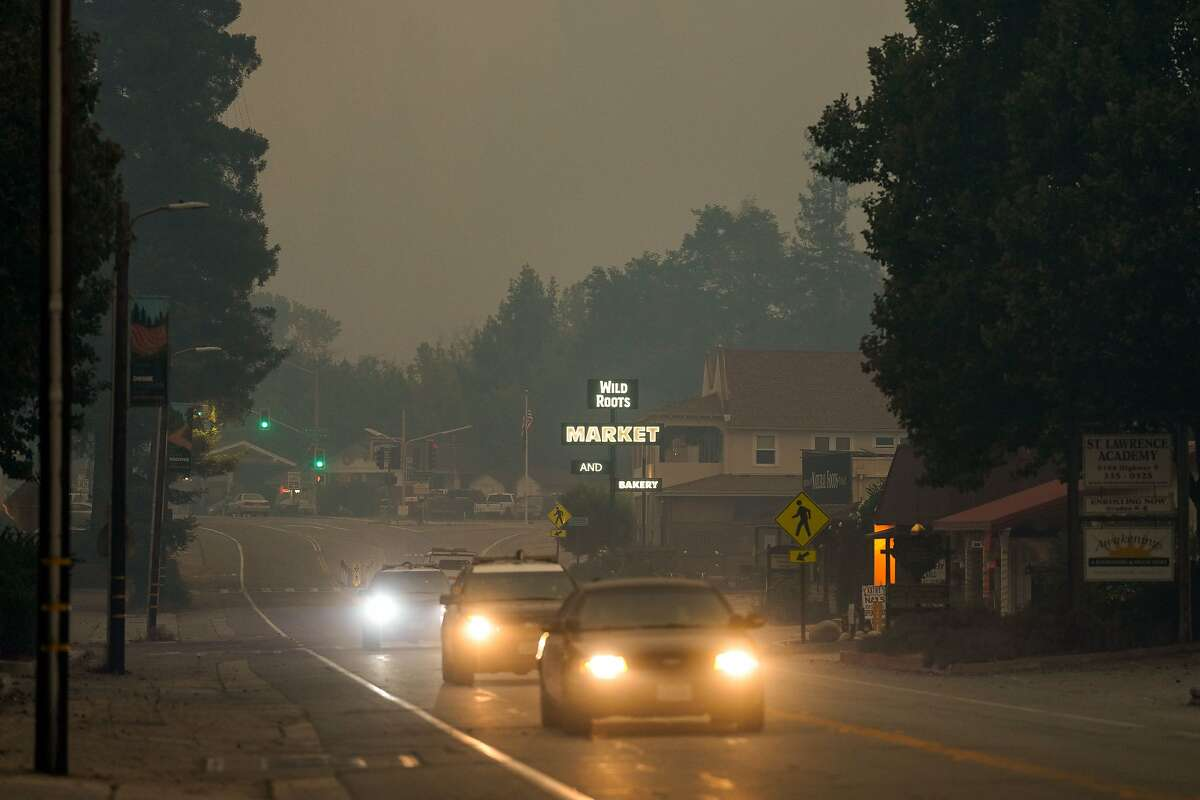 Smoke blankets the town of Felton during the CZU August Lightning Complex Fires on Thursday, Aug. 20, 2020 in Felton, CA.