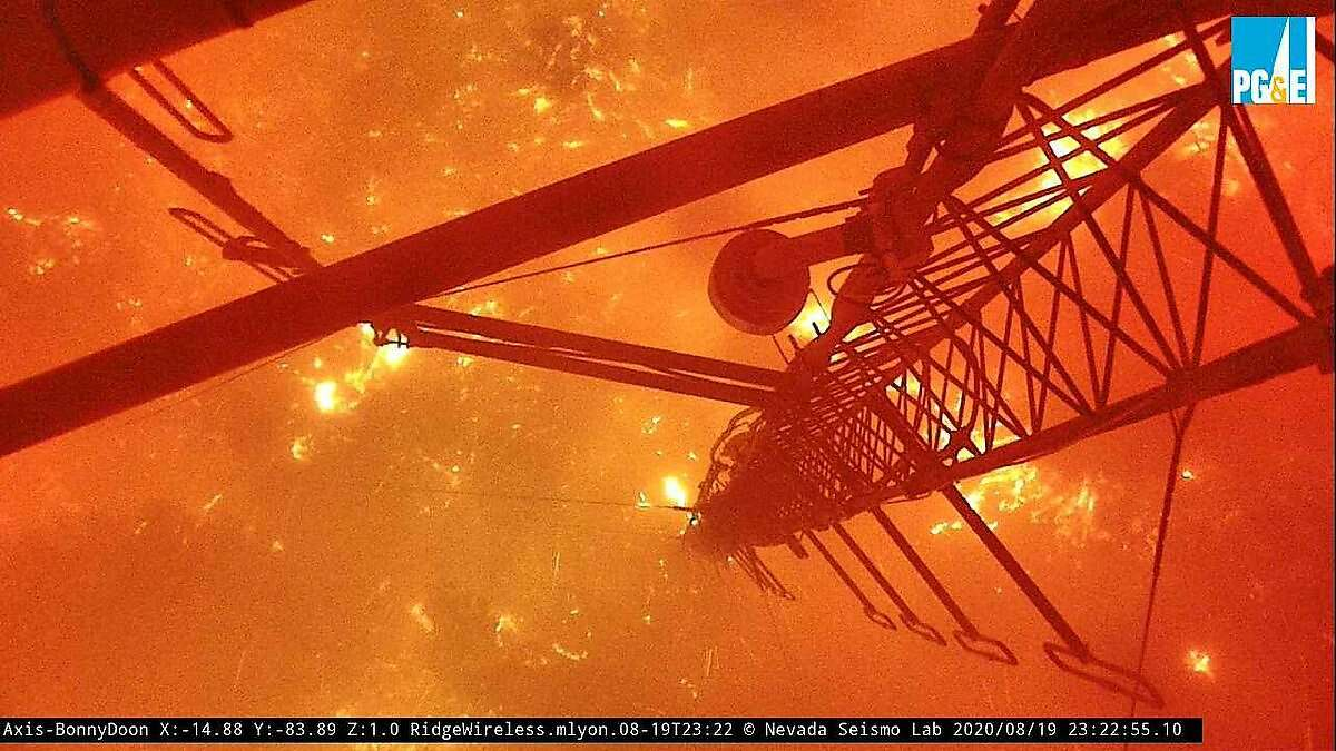 The Axis-BonnyDoon wildfire camera in the Santa Cruz Mountains stopped transmitting at 11:22 p.m. on Wednesday, Aug. 19, 2020. This was its last image.