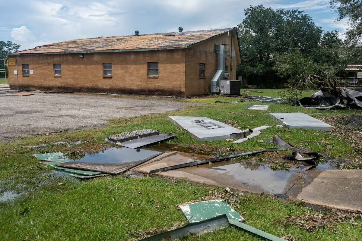 The district transportation office behind the LCM Junior High School lost its roof and sustained other damage. In addition to dealing with a number of fallen trees, Little Cypress-Mauriceville schools experienced storm damage at several of their facilities. Photo made on August 28, 2020. Fran Ruchalski/The Enterprise