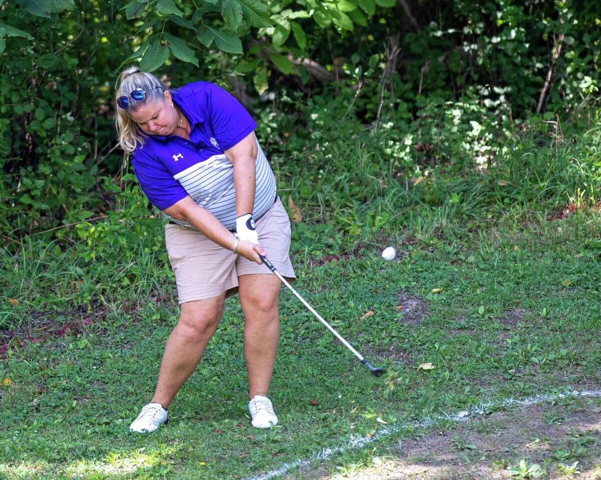 Colleen Cashman-McSween, the UAlbany golf coach, plays an approach shot during the CDPHP Pro-Am featuring Symetra Tour players at Capital Hills Golf Course in Albany, NY, on Friday, Aug. 28, 2020 (Jim Franco/Special to the Times Union.)