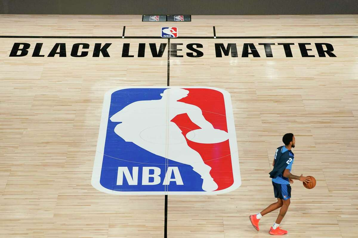 Oklahoma City Thunder's Terrance Ferguson (23) takes the court for practice in an NBA basketball arena Friday, Aug. 28, 2020, in Lake Buena Vista, Fla. The NBA playoffs will resume Saturday after the league and the National Basketball Players Association detailed the commitments that made players comfortable continuing the postseason. In a joint statement released Friday, the sides say they will immediately establish a social justice coalition, made up of players, coaches and owners, that would focus on issues such as voting access and advocating for meaningful police and criminal justice reform. (AP Photo/Ashley Landis, Pool)