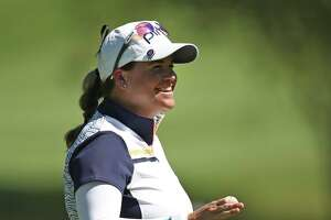 ROGERS, ARKANSAS - AUGUST 28: Jackie Stoelting reacts to her birdie putt on the 9th green during the first round of the LPGA Walmart NW Arkansas Championship on August 28, 2020 in Rogers, Arkansas. (Photo by Marianna Massey/Getty Images)