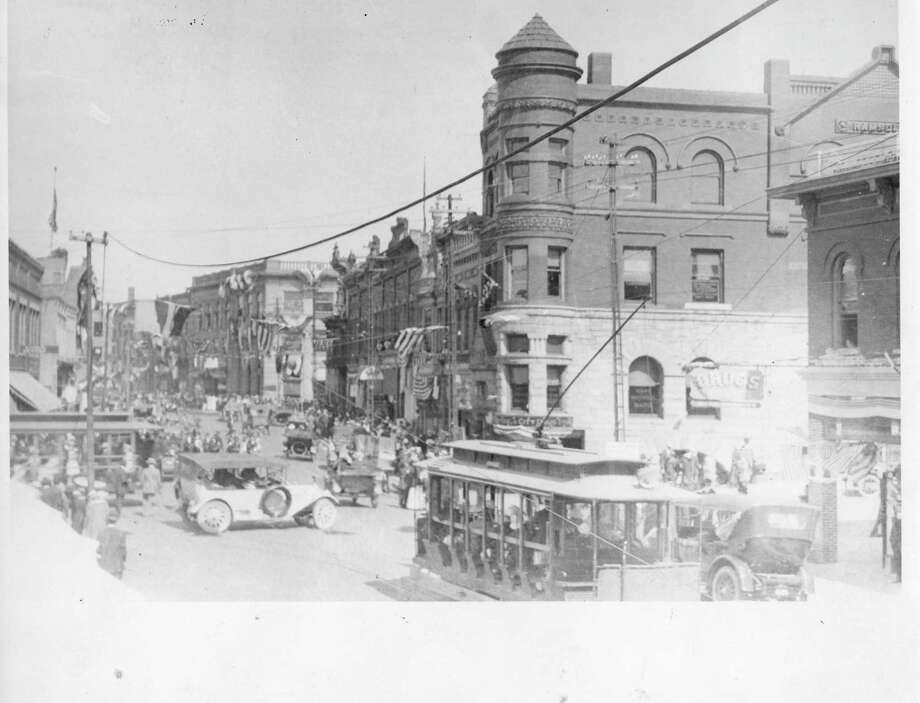 A look at the corner of Maple and River Street during the Fourth of July circa 1918. (Manistee County Historical Museum photo)