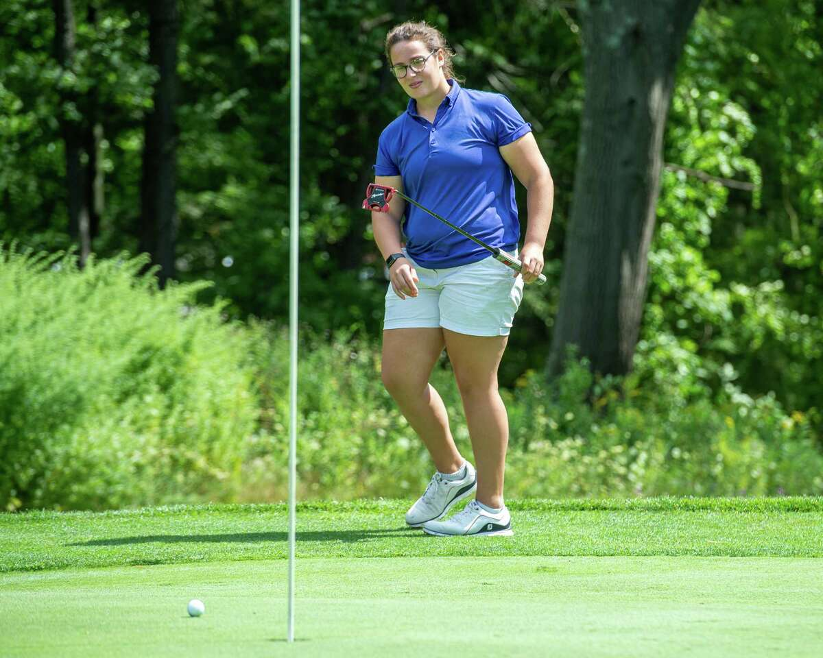 Megan Henry, a player on the UAlbany golf team, watches a putt during the CDPHP Pro-Am featuring Symetra Tour players at Capital Hills Golf Course in Albany, NY, on Friday, Aug. 28, 2020 (Jim Franco/special to the Times Union.)