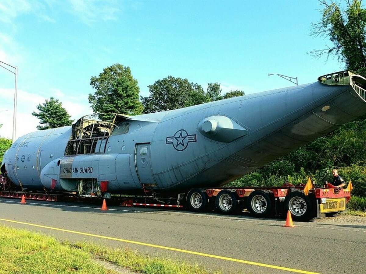 Connecticut State Police troopers escorted an Air Force C-130 aircraft across Connecticut Friday, August 28, 2020.