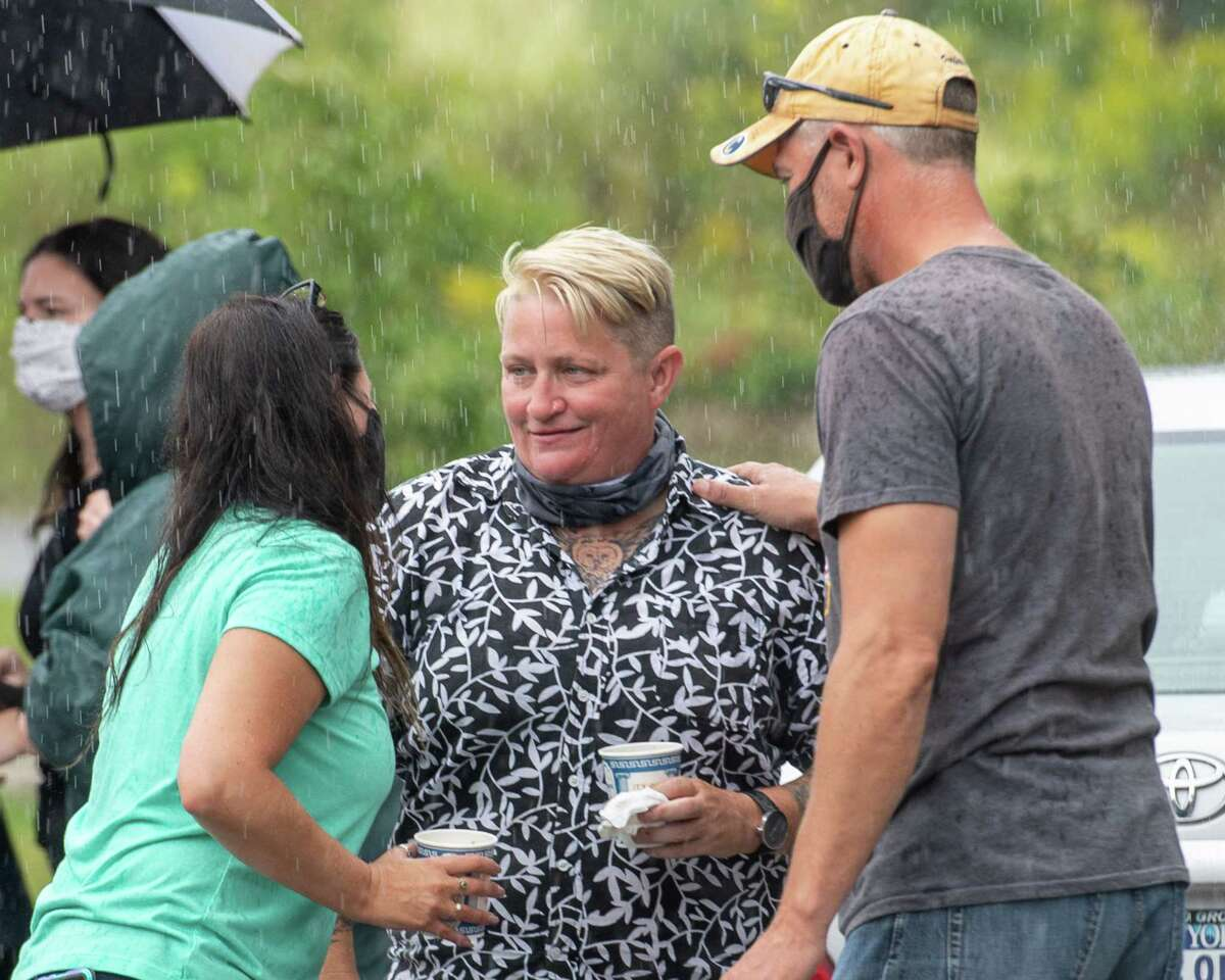 Linda Conley, Betty Conley's daughter, talks to supporters during an event outside the Harmony Corners Fire Department in Charlton, NY, on Saturday, Aug. 29, 2020 to raise awareness and announce a new reward for information leading to an arrest for the 1993 slaying of Conley (Jim Franco/special to the Times Union.)