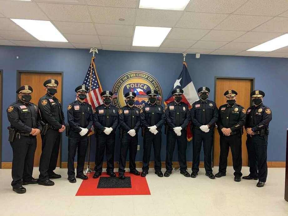 Laredo police welcomed six new officers into the department during a pinning of the badge ceremony held on Friday. Photo: Courtesy Photo /Laredo Police Department