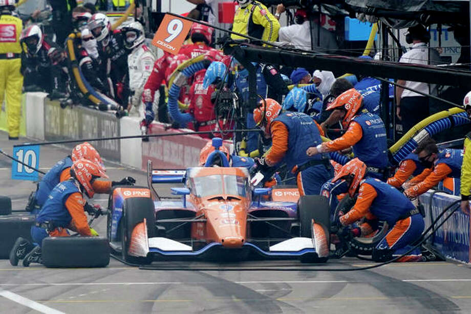 Scott Dixon pits during the IndyCar auto race at World Wide Technology Raceway on Saturday in Madison. Photo: Associated Press